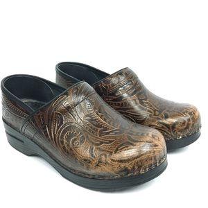 Dansko Tooled Leather Clogs